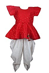 BownBee Stylish Diva Dhoti Peplum Top - Red & White