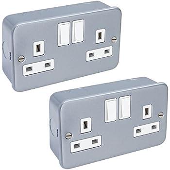 Knightsbridge Metal Clad Metalclad 10A 10 Amp 2 Gang 2 Way Double Light Switch