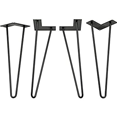 Locisne 4 Pack Heavy Duty Hairpin Table Legs-Superior Weld Powder Coated Matt Black Cast Steel 9mm 2 Rods 16 inch Height Modern Style Metal Hairpin Legs Dining Room Furniture Accessories for Wood Furniture Coffee Table & End Table - low-cost UK light shop