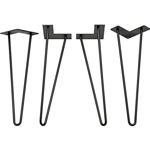 Locisne - 16 'Two-Rod horquilla Metal de las patas de la mesa, Acero Fundido Negro 9mm, Paquete de 4, Estilo Moderno, Comedor, Muebles, Accesorios para Los Muebles de Madera, Mesa de café, Mesa de comedor
