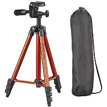 Cullmann 52140 ALPHA 3000 Kit Trépied de voyage 106 cm ultraléger 480 g orange avec étui et tête à 3 voies pour appareil photo compact DSLR CSC BRIDGE DV caméscope de Canon Canon EOS Nikon Sony