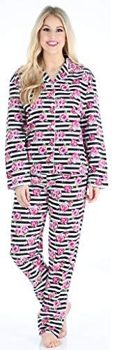 PajamaMania Flanell Pyjama für Damen, Schlafanzug, Streifen mit Blumen (PMF1002-2061-UK-XS) - Streifen-satin Baumwolle Pyjama