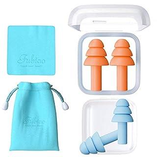 2 Paar Wiederverwendbare Silikon-Ohrstöpsel - NRR 32, wasserdicht, hypoallergen - Ultra komfortable Ohrstöpsel zur Geräuschreduzierung zum Schlafen, Schwimmen, für Konzerte und Flugzeuge (Orang/Blue)