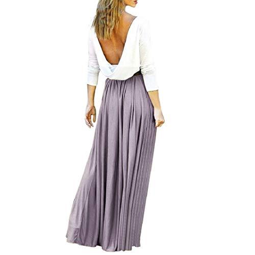Subfamily® Frauen Hohe Taille Elegante Kleider Bodenlanges Kleid rückenfrei Sexy Long Beach bunten Dress elegant Kleid Sommer und Herbst Kleid