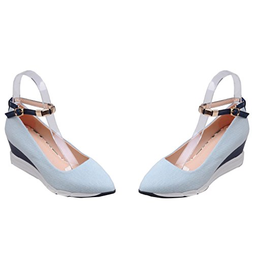 YE Damen High Heels Plateau Spitze Denim Ankle Strap Pumps mit 5cm Absatz Keilabsatz Casual Dress Party Schuhe HellBlue