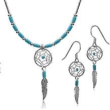 Noda - Set de pendientes y collar de 46 cm de plata con turquesa de imitación de atrapasueños 46cm