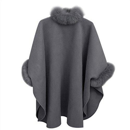 YWLINK Damen Mode Elegant ÜBergangs Jacke LäSsig Woll Outwear Faux FüR Pelzkragen Parka Strickjacke Frauen Umhang Mantel(S,Grau) -