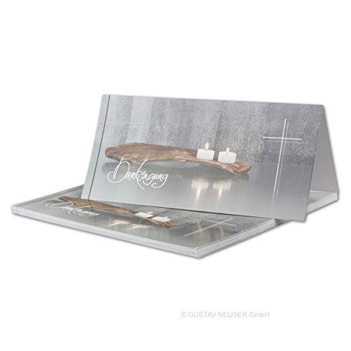 25 x Trauer-Set // Danksagungs-Trauer-Doppelkarten mit Umschlägen DIN Lang 21 x 19,8 cm // Hochglanz // Serie: Bianca