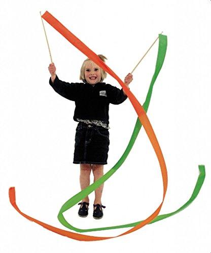 Preisvergleich Produktbild Rhythmikbänder profi 150 cm rot, blau, gelb, orange + grün / Rayon-Seide m. gewebten Kanten / für Tanz + Gymnastikschule / m. Kunststoffsta
