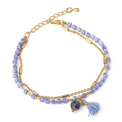 KELITCH Charm Armbänder für Mädchen Zwei Schicht Gold Überzogene Zarte Strand Armband Handgemachte Quaste Frauen Armbänder (Blau 25H)