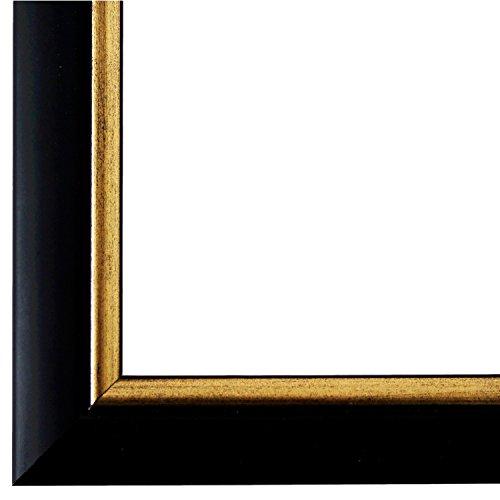 Bilderrahmen Schwarz Gold DIN A3 (29,7 x 42,0 cm) cm - Modern, Klassisch - Alle Größen - handgefertigt - Galerie-Qualität - WRF - Perugia 4,0