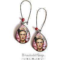 Orecchini cabochon cabochon di vetro gocce cabochon, Frida Khalo, zingara, fiori rosa, fiori rosa, ispirazione messicana, ritratto donna, bohémien chic, boho