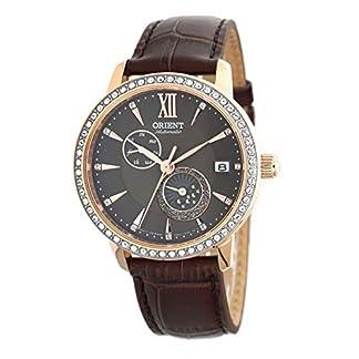 ORIENT RA-AK0005Y – Reloj de Pulsera para Mujer con Esfera de Oro Rosa, diseño de Sol y Luna, Color marrón