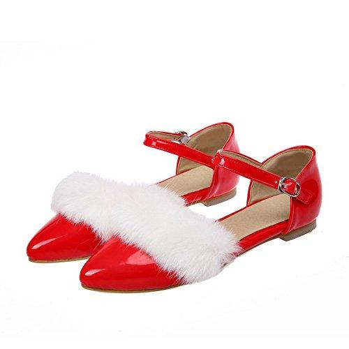 VogueZone009 Donna Punta Chiusa Scarpe A Punta Tacco Basso Pelle Di Maiale Puro Fibbia Ballerine Rosso