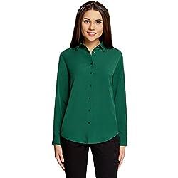 oodji Ultra Mujer Blusa Recta con Bolsillo EN el Pecho, Verde, ES 42/L