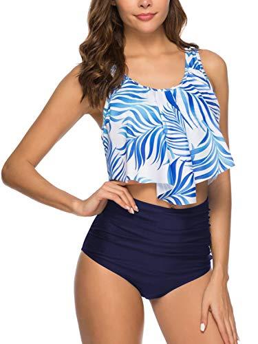 Cindeyar Frauen sexy hohe Taille schlank Bikini Strand Schwimmen Mode Set Strand Strap Weste + sexy dünne Shorts (Blau, S) -