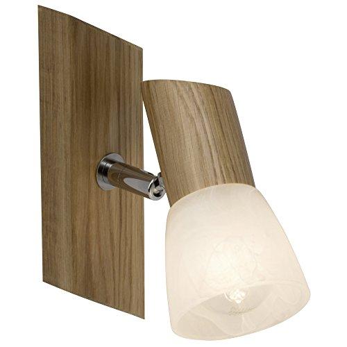 –Foco de pared, 1x E14Max. 28W, madera/cristal, roble/blanco de alabastro