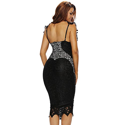 PU&PU Femmes Occasionnels / Sorties / Soirée Lace Patchwork Hollow Body Con Robe, Col rond sans manches Black