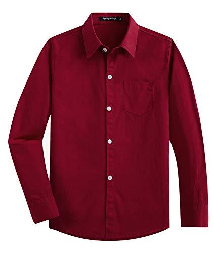 Spring&Gege Jungen Einfarbig Hemden Freizeit Baumwoll Klassisch Schuluniform für Kinder Weinrot 104 110