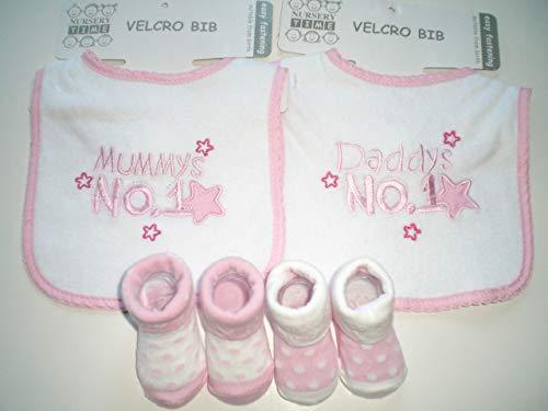 """Baby-Geschenkset""""Mummys No.1/ Daddys No.1"""" rosa Newborn Baby Mädchen Zwillinge Zwillingskleidung zwillinge geschenk i love mum i love mama Geburt Taufe"""