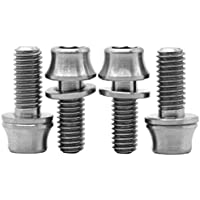 [4 Pack] MCTi MTB Mountain Bike Bicycle Water Bottle Cage Titanium Bolts M5 x 12mm Allen Hex Key Tapered Head Washer Screws