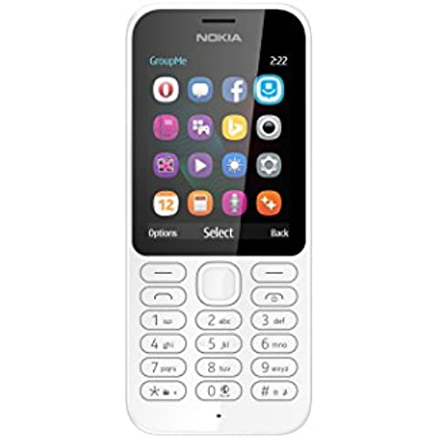 Microsoft Nokia 222 DS - Smartphone libre de 2G, pantalla de 2,4 pulgadas, 16GB, dual SIM, color blanco