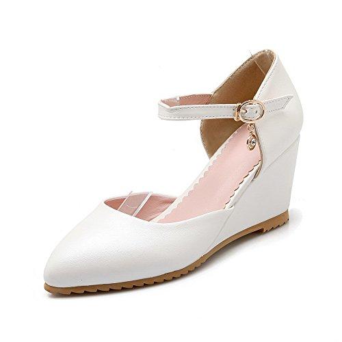 VogueZone009 Femme Couleur Unie à Talon Correct Boucle Pointu Chaussures Légeres Blanc