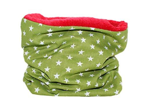 Unbekannt Kinder Loop Schlauchschal Kinderschal Sterne Grün (1-10 Jahre) - Fleecefarbe Rot