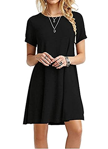 iPretty damen kurzarm Casual lose T-Shirt Kleid,schwarz,38