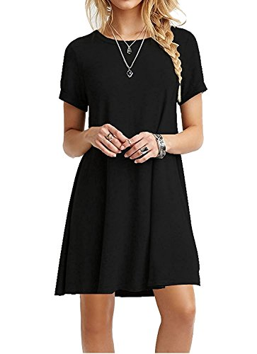 iPretty damen kurzarm Casual lose T-Shirt Kleid,schwarz,36 (T-shirt Kleid T-shirt)