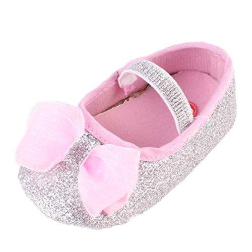 BZLine® Baby Mädchen Blume Anti-Rutsch-Hand Schuhe + 1pc Haarband Silber