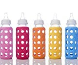 #7: Zyamalox ® Premium Glass Feeding Bottle | BPA Free | With Atractive Gripper Protection