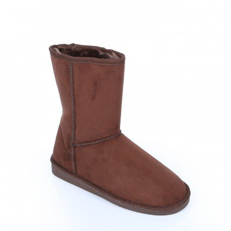 Ideal Shoes - Bottines en simili daim fourrées à l'intérieur Ysabel Marron