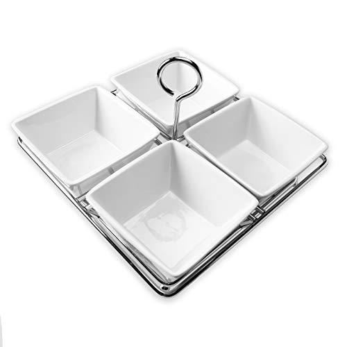 Bison Home Goods 4 Schalen Gewürzdosen Set - weißes Porzellan mit Chrom-Metall-Keramik-Caddy - Gewürze, Nüsse, Eis, Snacks, Süßigkeiten-Servierschalen - -