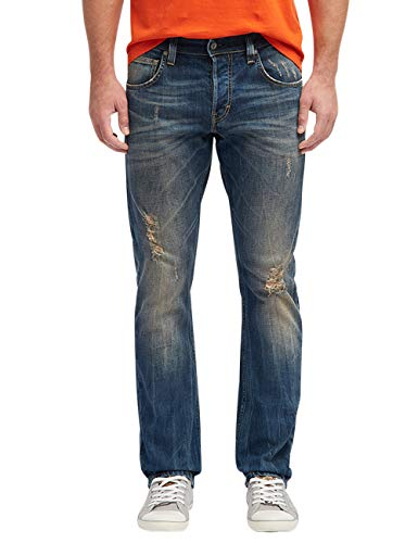 Mustang Herren Comfort Fit Chicago Tapered Jeans, Blau, 32W / 32L - Jeans Zerschlissene