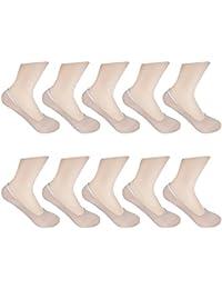 HBF 10 Pares Calcetines Invisibles Mujer Algodón Calcetines Cortos Elástco Con Silicona Antideslizante