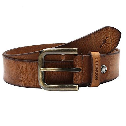 Hornbull Mens Tan Leather Belt 34