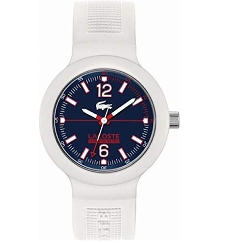 Lacoste Men's Quartz Watch with Blue Dial Analogue Display and White Silicone Strap 2010702