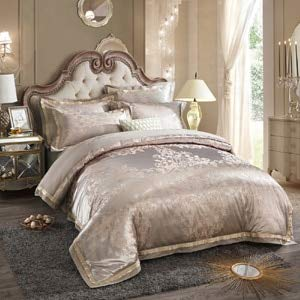 RONGXIE Palace Style Satin Jacquard 4pcs Bedding Set Cotton Duvet Cover Bed Sheet Set Bedline Full Queen King Size Bedclothes Set Home (Set Sheet Bed Queen-size)