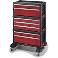 Curver 223044 Carrito Organizador con 7 cajones, Negro Y Rojo, 54.2x26.9x72