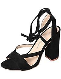 OverDose Sexy Chaussures Hautes, Femme Sandales Daim Cuir Lacées Talon  Carrés Brides ... 9134e4bb4371