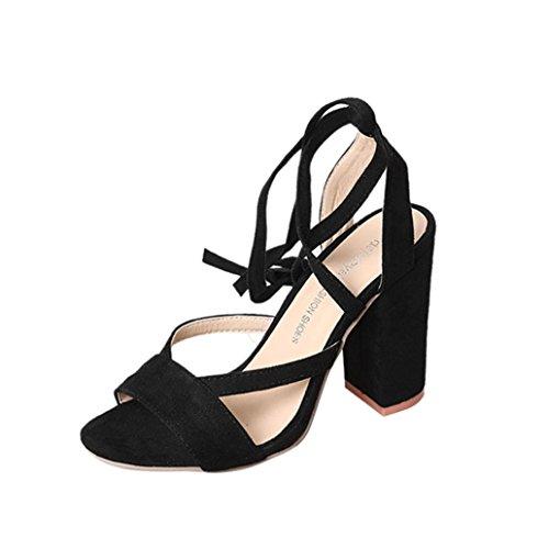 OverDose Sexy Chaussures Hautes, Femme Sandales Daim Cuir Lacées Talon Carrés Brides High Heels (33, Noir)