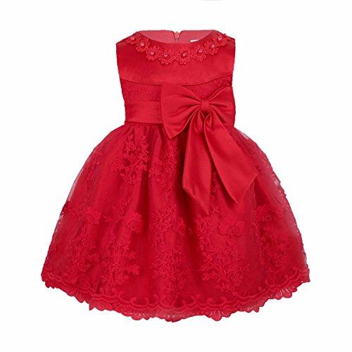 Prinzessin Kleid Blumenmädchenkleid Taufkleid Festlich Kleid Hochzeit Partykleid Festzug Babybekleidung Gr. 68-92 Rot 86-92 / 18-24 Monate (Mädchen Party Kleider Rot)