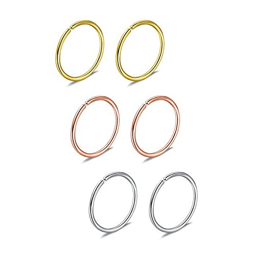 Briana Williams 6er Nasenpiercing Nasenring Fake Nasen Hoop Ring 22G 20G 18G 16G 6/8/10/12mm Chirurgenstahl Piercing Schmuck (18 Nasen-ring)