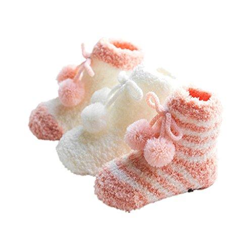 Baby-Bodysocken,Auxma Kinder Baby Mädchen Jungen Frühling Winter Anti-Rutsch-Schritt Boden Socken Korallen Fleece Socken Kleinkind Stiefel Hausschuhe Slipper Schuhe für 0-36 Monate (S/0-12 M, Rosa) (Frühling Schritt Schuhe Frauen)