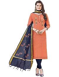 Women'S Peach Semi Stitched Embroidered Banglori Cotton Dress Material