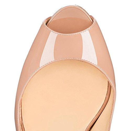Arc-en-ciel womenâ s Schuhe Plattform leichte Rücken Peep Toe Sandale Nude