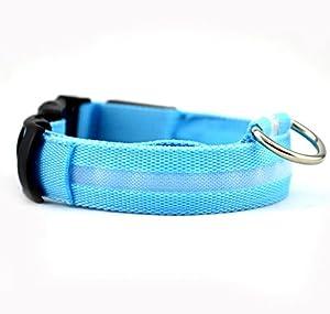 Keysui Collier de chien LED Flashing Lights Dog Blue Collar Avec White Light