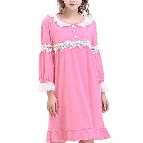 Zhhlinyuan Womens Comfy Princess Sleep Skirt Sleepwear Fashion Summer Long Sleeve Pajama Rose Red