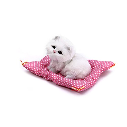HENGSONG Cute Simulation Cat Toys with Sound Kittens Cat Toys Doll Plush Toys Gifts for Kids Boys Girls (White cat)